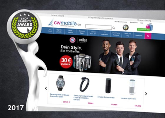 Shop Usability Award 2017 | cw-mobile.de