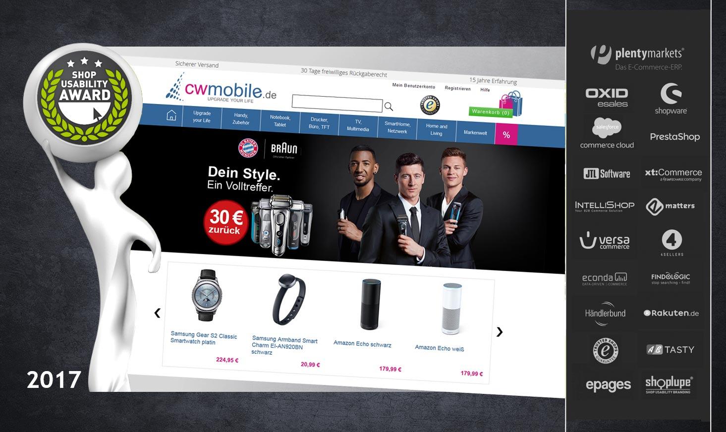 "cw-mobile.de hat es dabei 2017 unter die Top 5 Online Shops in der Kategorie ""Elektronik, Software & Handy"" geschafft."