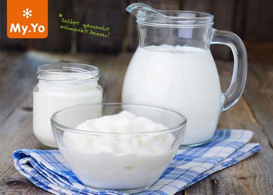 My.Yo ist ein stromloses Joghurtsystem, mit dem kinderleicht Joghurt selber gemacht werden kann