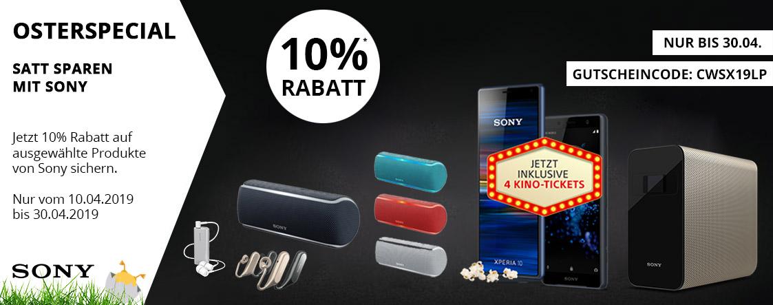 Jetzt 10% Rabatt aufausgewählte Produktevon Sony sichern | cw-mobile.de