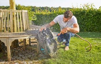 Leicht mit einem Gartenschlauch zu reinigen